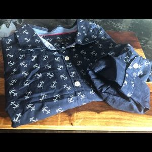 Talbots Anchor Button Up with Rolled Sleeves